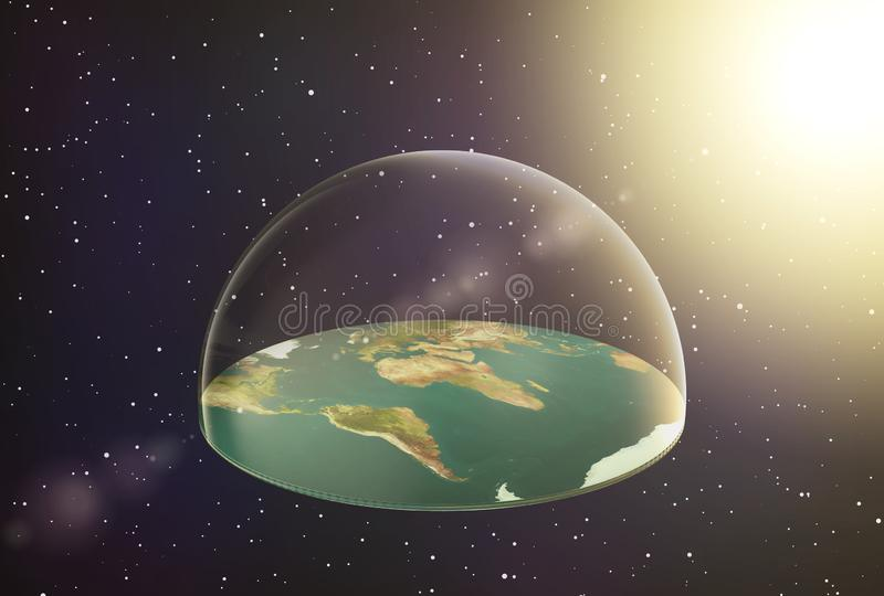 Terra piana nello spazio illustrazione di stock