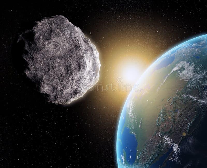 Terra próxima asteróide ilustração royalty free