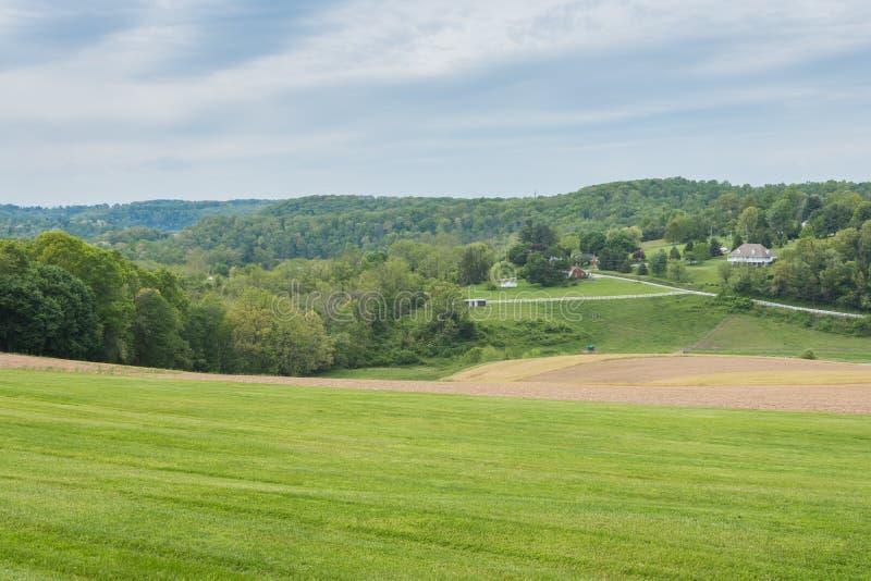 Terra que cerca William Kain Park no Condado de York, Pennsylva foto de stock
