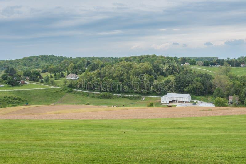 Terra que cerca William Kain Park no Condado de York, Pennsylva imagem de stock