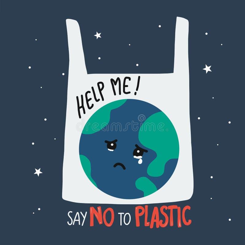 A terra que grita em desenhos animados do saco de plástico, diz não à ilustração plástica do conceito ilustração stock