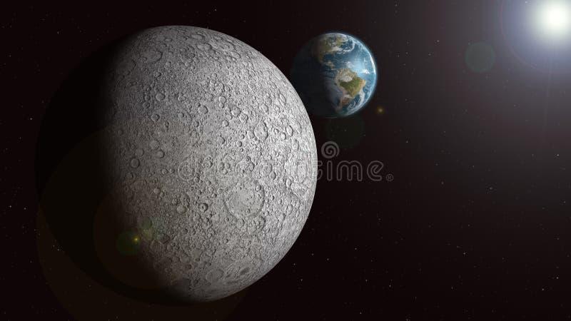 A terra que levanta-se sobre a lua sunlit ilustração royalty free