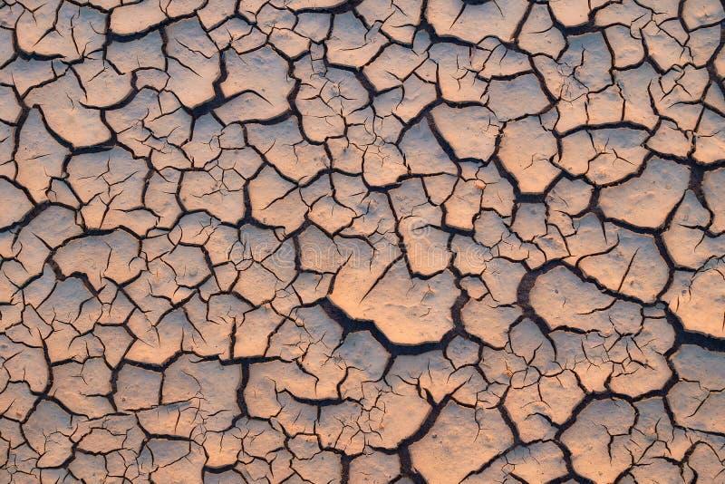Terra rachada árida e seca fotografia de stock