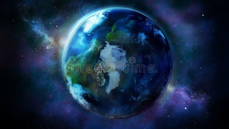 Terra realística do espaço que mostra America do Norte, Ásia e Europa ilustração royalty free