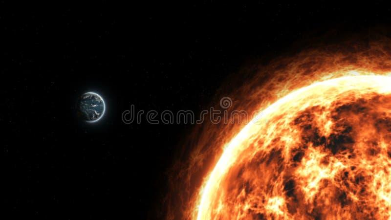 Terra realística e Sun do planeta do espaço profundo imagem de stock