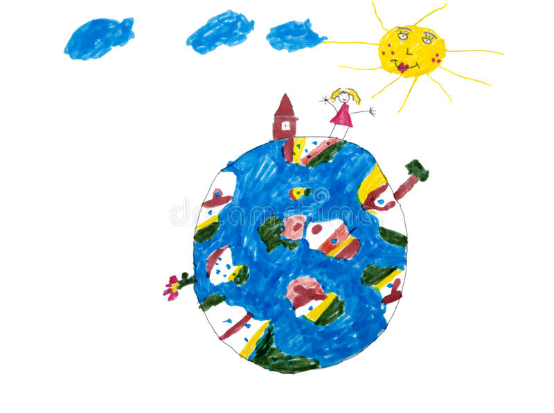 Terra rotonda con la ragazza illustrazione di stock