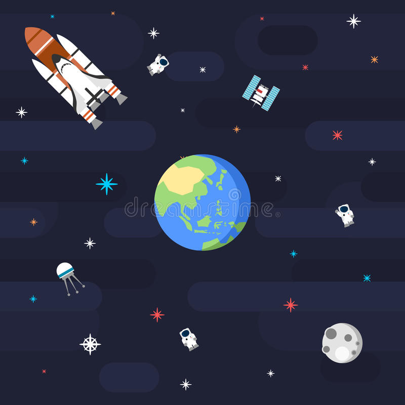 Terra sem emenda do planeta do teste padrão do espaço no estilo liso ilustração stock