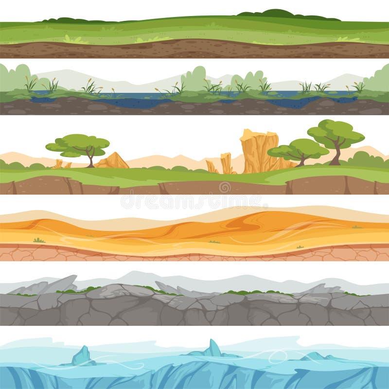 Terra senza cuciture di parallasse Fondo del fumetto di vettore della roccia della sporcizia del deserto dell'acqua dell'erba del royalty illustrazione gratis