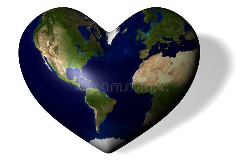 A terra sob a forma do coração ilustração do vetor