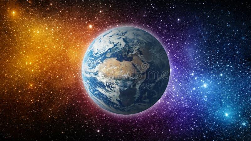 Terra, sole, stella e galassia Alba sopra pianeta Terra fotografie stock