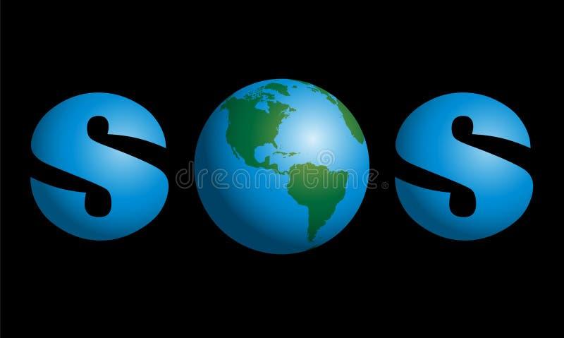 Terra SOS do planeta ilustração royalty free