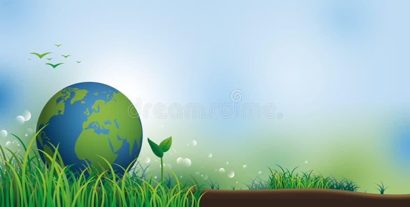 Terra su erba con lo spazio della copia per l'illustrazione di vettore dell'insegna di giorno dell'ambiente illustrazione di stock