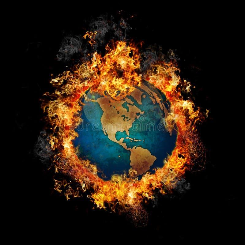 Terra su fuoco illustrazione di stock