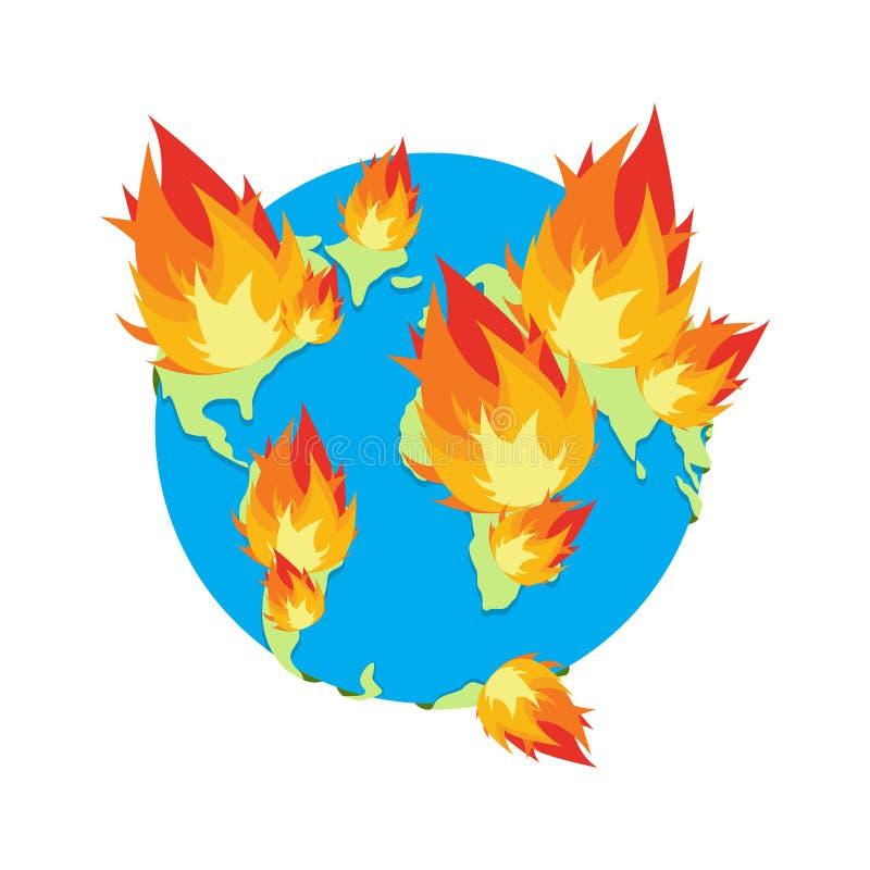 Terra su fuoco Il pianeta sta bruciando disastro doomsday illustrazione vettoriale