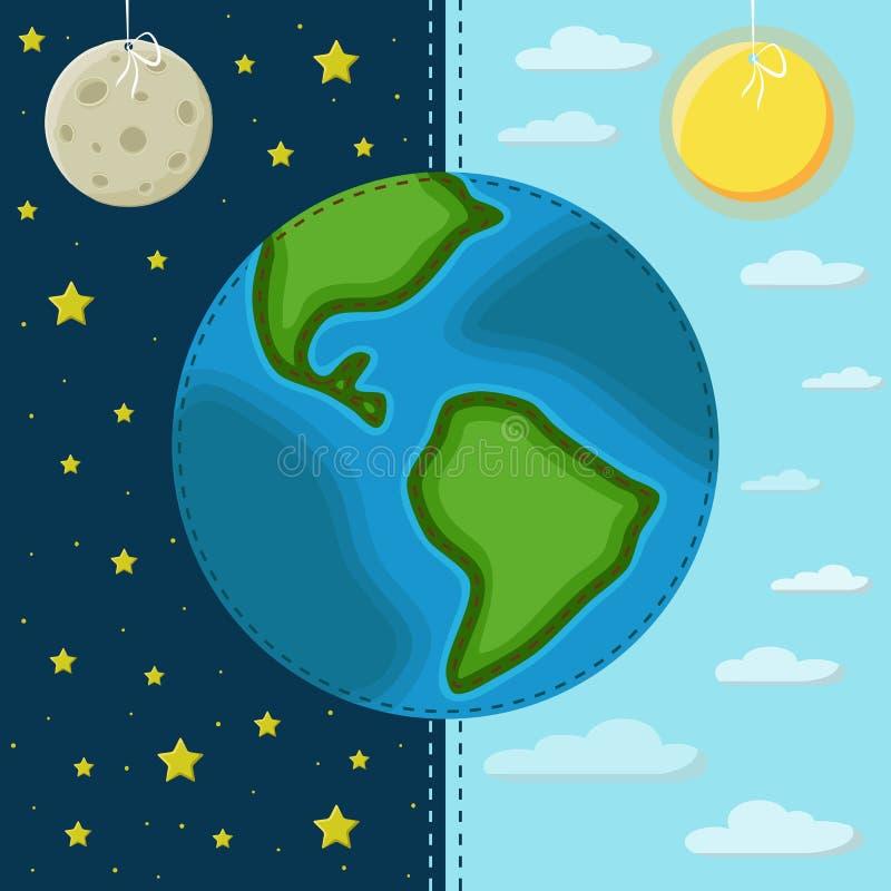 Terra su un fondo del giorno e della notte illustrazione di stock