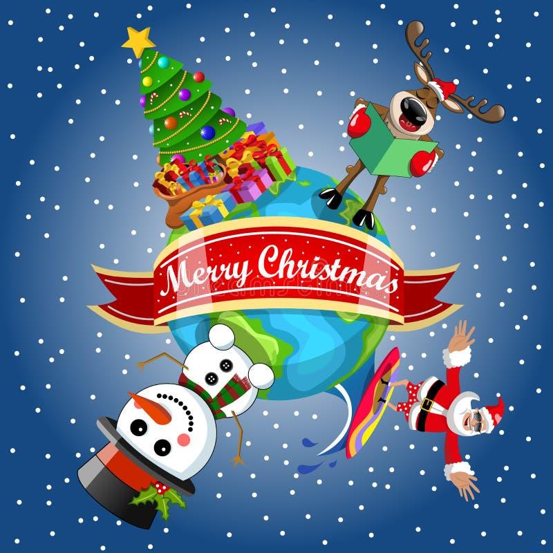 Terra surfando dos desenhos animados da árvore do xmas do boneco de neve da rena de Santa Claus ilustração stock