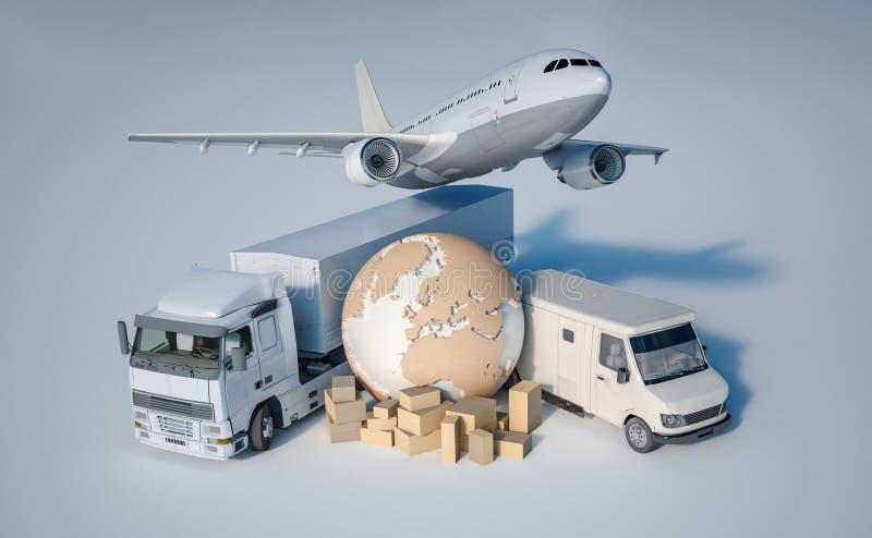Terra, uma pilha das caixas, um caminhão, um plano, e uma camionete ilustração do vetor