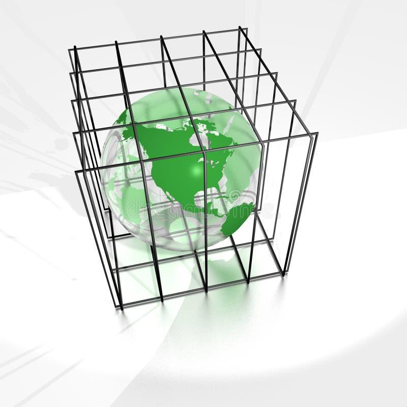 Terra in una gabbia illustrazione di stock