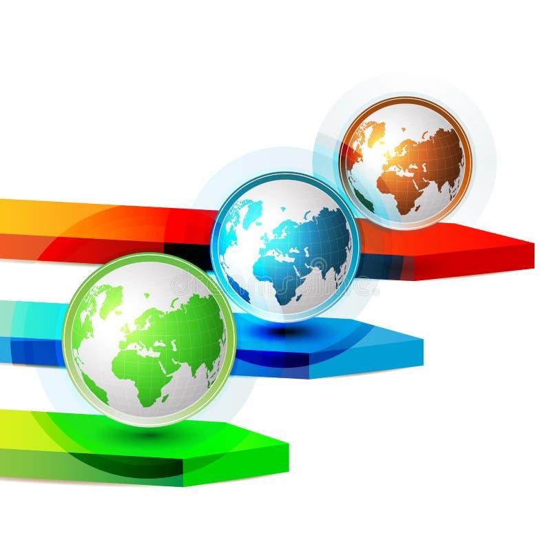 Terra verde blu e rossa illustrazione di stock