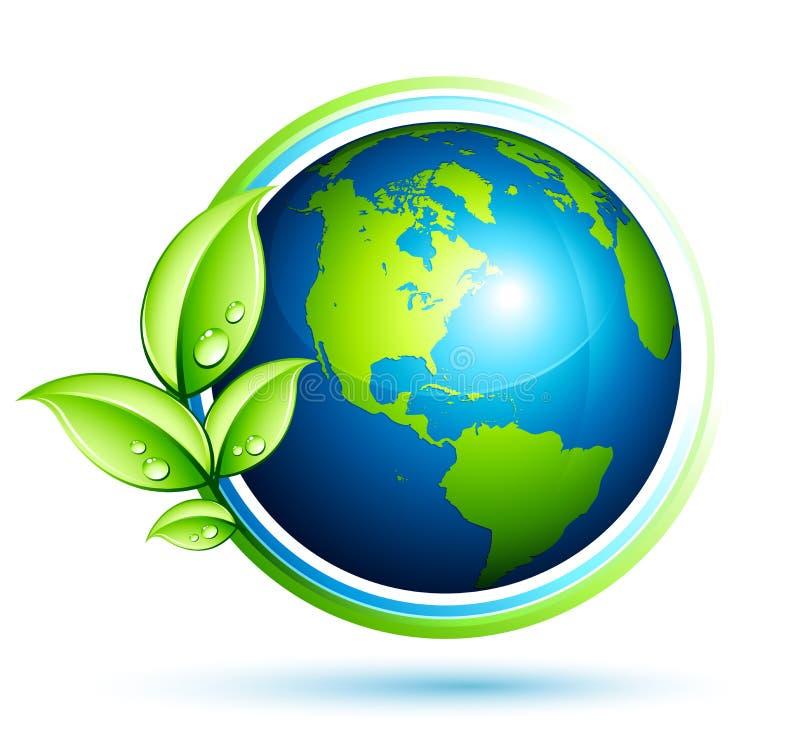 Terra verde com folhas ilustração do vetor