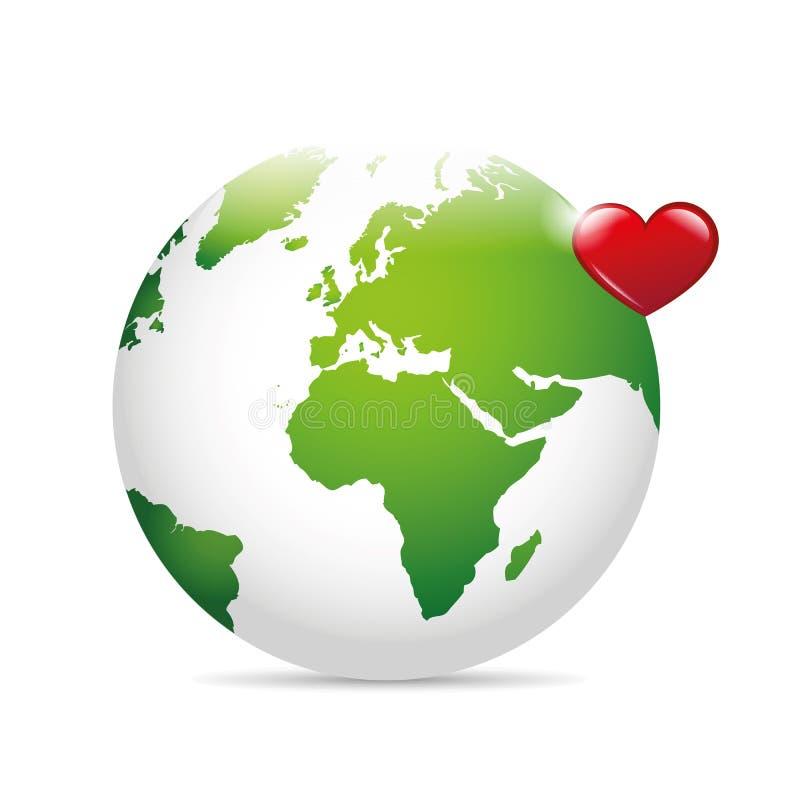 Terra verde con cuore rosso salvo il concetto del mondo royalty illustrazione gratis