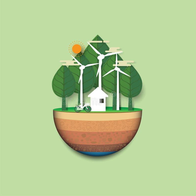 Terra verde del paesaggio vivente di eco ed urbano amichevole ab della foresta illustrazione vettoriale