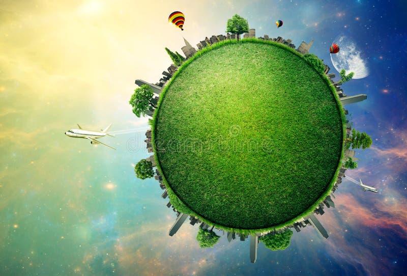 Terra verde do planeta coberta com a skyline da cidade da grama imagem de stock