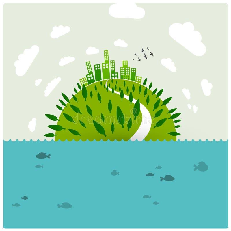 Terra verde no oceano ilustração royalty free
