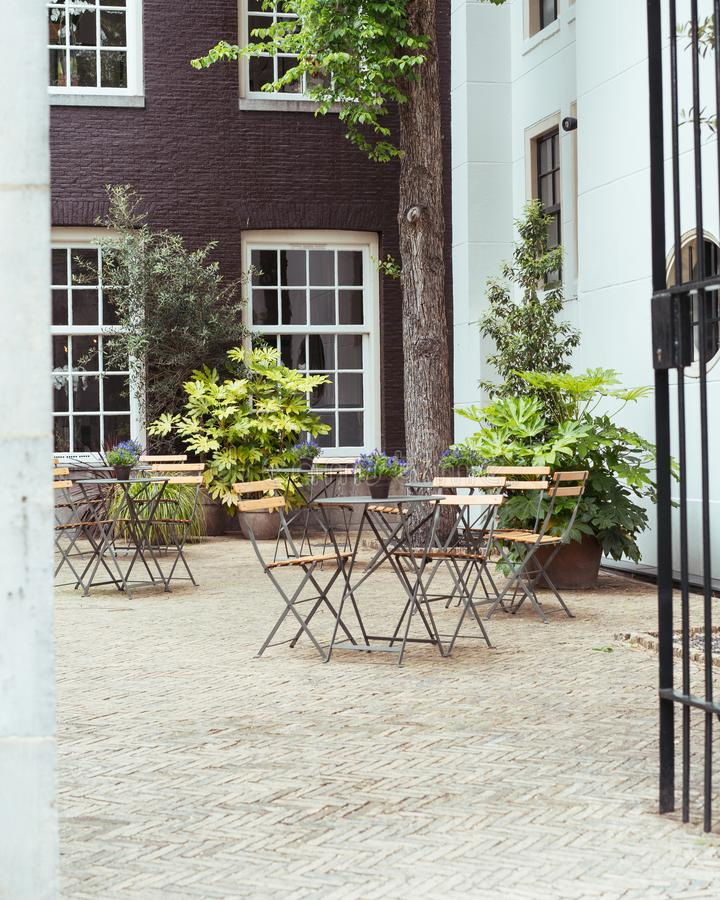 Terracce of beautiful café in historical Amsterdam stock photo