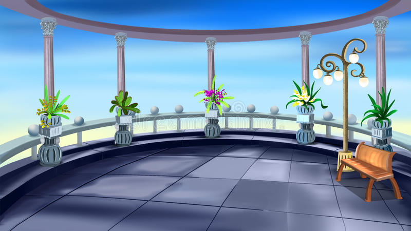 Terrace with Colonnade. Digital painting of the terrace with colonnade overlooking the sea stock illustration