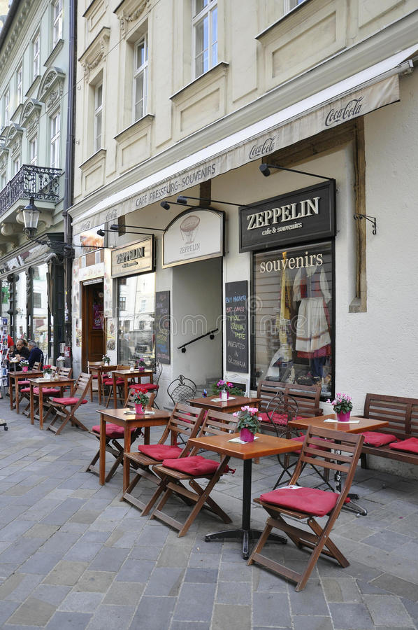 Terrace on Downtown of Bratislava in Slovakia stock photo