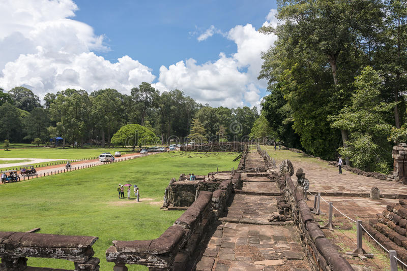 Terrace of the Elephants, Angkor Wat, Cambodia. Terrace of the Elephants was part of the walled city of Angkor Thom, a ruined temple complex in Cambodia. The royalty free stock images