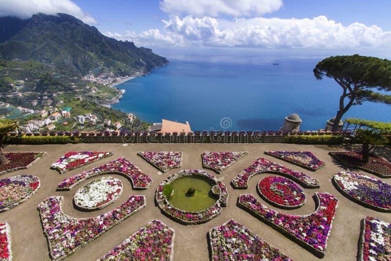 Terrace garden to the sea. Terrace to the sea on Amalfi coast - Italy stock image