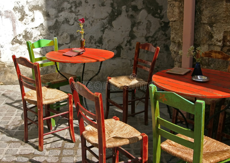 Terrace In Greece Royalty Free Stock Images