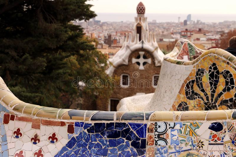 Terrace of the Guell paro designed by Antoni Gaud stock image