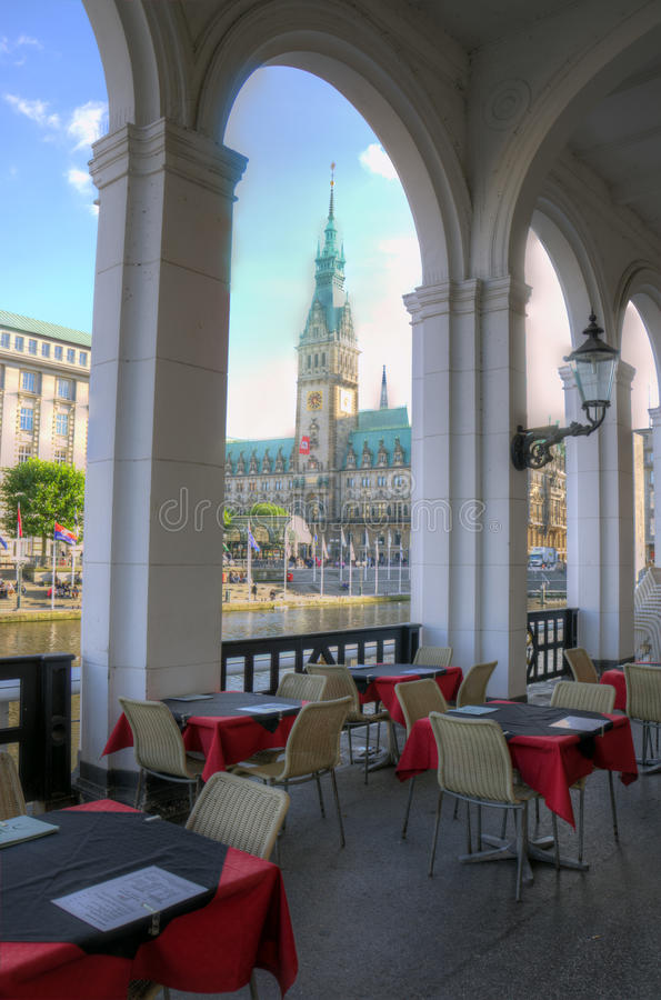 Download Terrace in Hamburg stock image. Image of canal, alster - 34357635