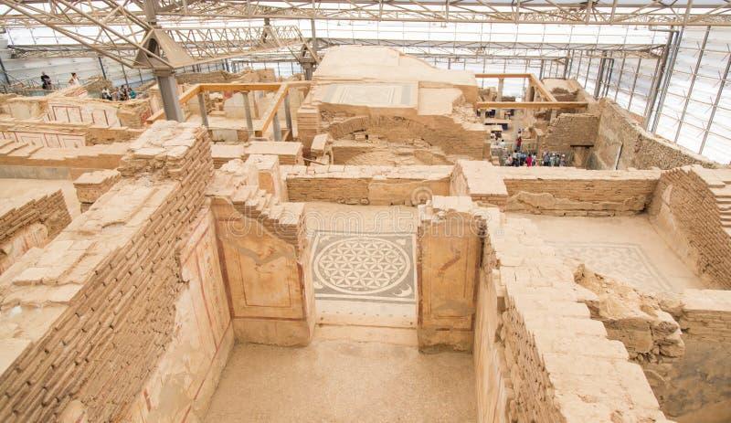 Terrace Houses in Ephesus Ancient City. In Izmir, Turkey royalty free stock image