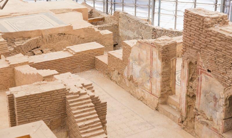 Terrace Houses in Ephesus Ancient City. In Izmir, Turkey royalty free stock photo