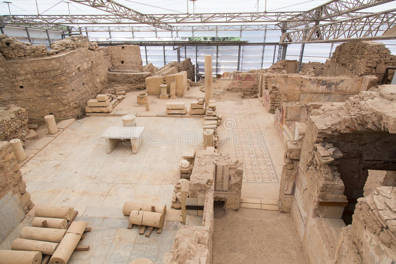 Terrace Houses in Ephesus Ancient City. In Izmir, Turkey royalty free stock photos