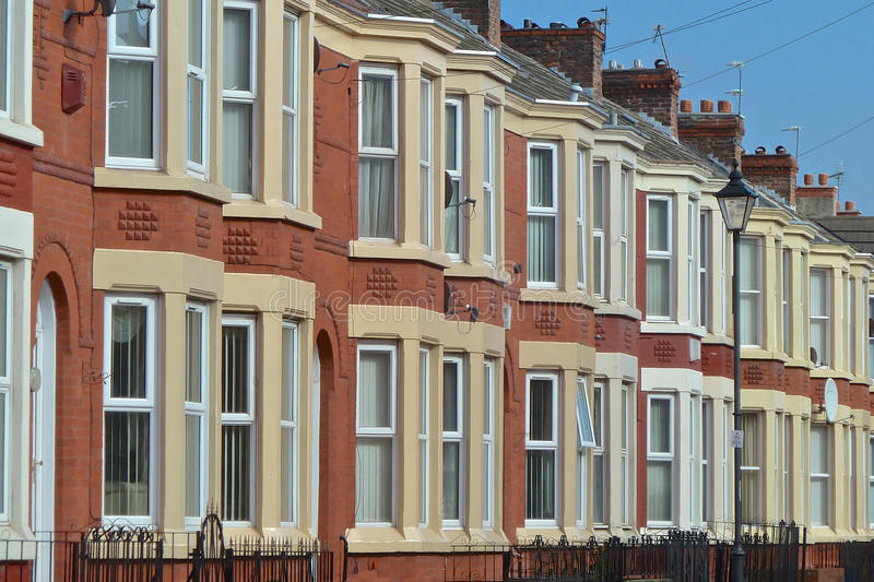 Terrace Houses. Row of Victorian terrace houses in Liverpool, England royalty free stock photos