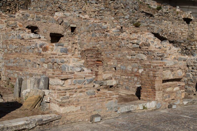 Terrace houses. Ruins of Terrace Houses in Ephesus Ancient City, Izmir, Turkey stock image