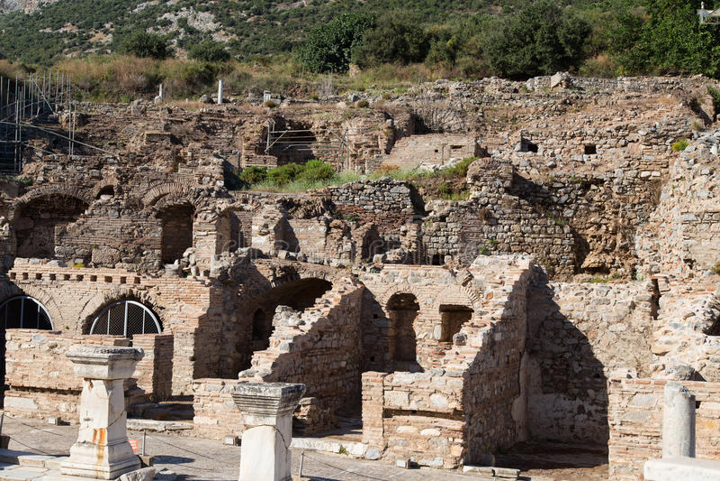 Terrace houses. Ruins of Terrace Houses in Ephesus Ancient City, Izmir, Turkey stock photo