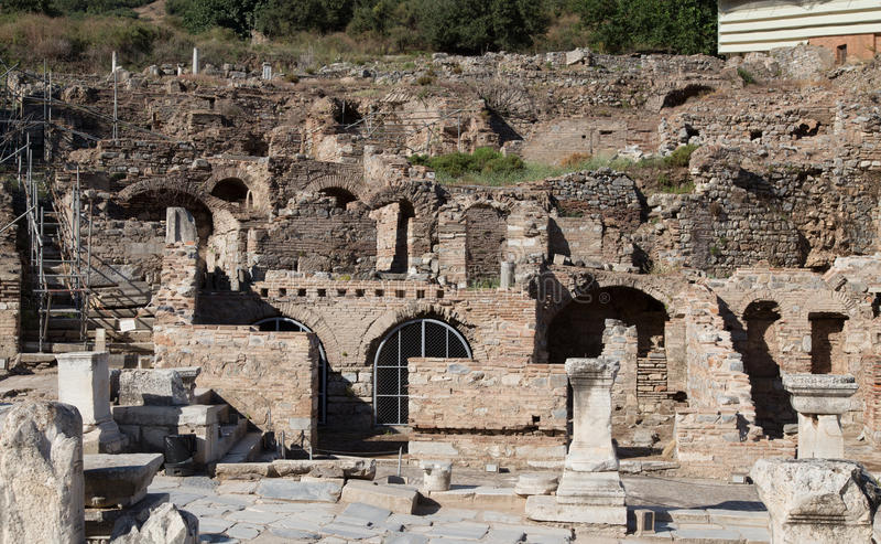 Terrace houses. Ruins of Terrace Houses in Ephesus Ancient City, Izmir, Turkey stock images