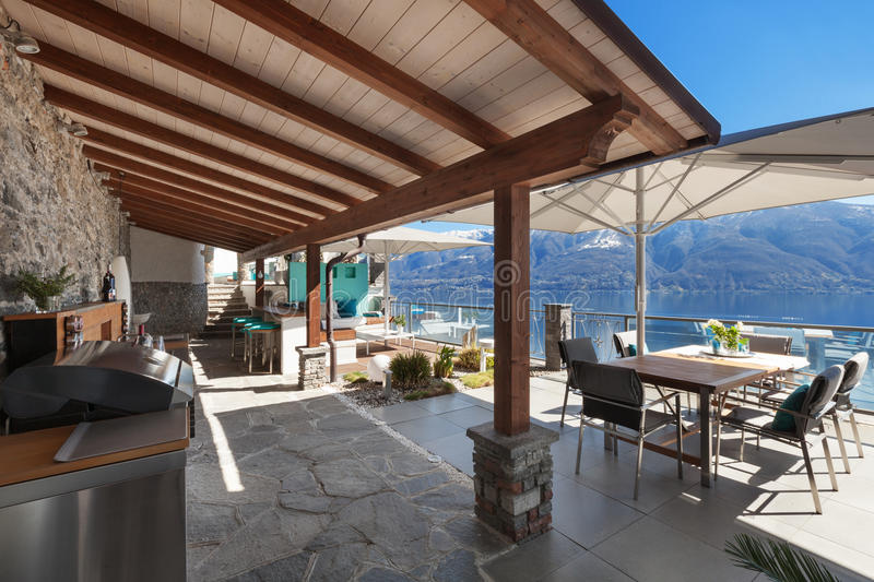 Terrace of a luxury house stock photos
