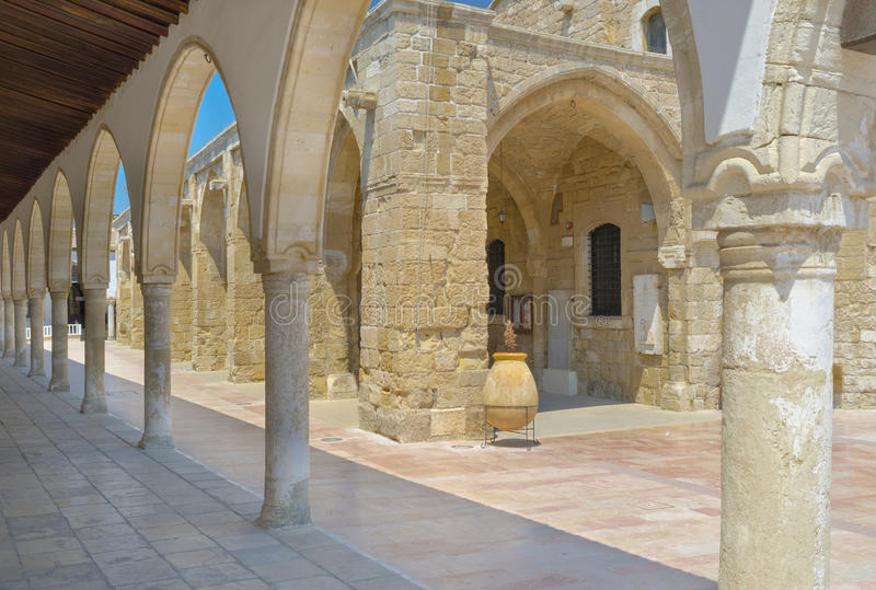 The terrace of museum. The shady terrace of the Ecclesiastical museum surrounds the St Lazarus church, Larnaka, Cyprus stock image