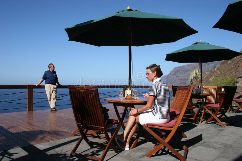 Download Terrace And Ocean View Tables Stock Image - Image: 1076013
