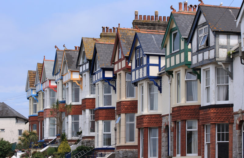 Terrace Of Older Homes With Blue Sky Royalty Free Stock Images
