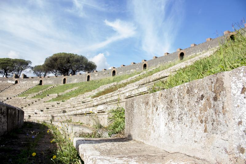 The terrace of Pompeii`s amphiteater royalty free stock photography