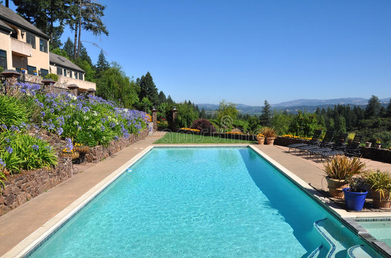 Terrace pool. Beautiful view of a pool over looking a California vineyard stock image