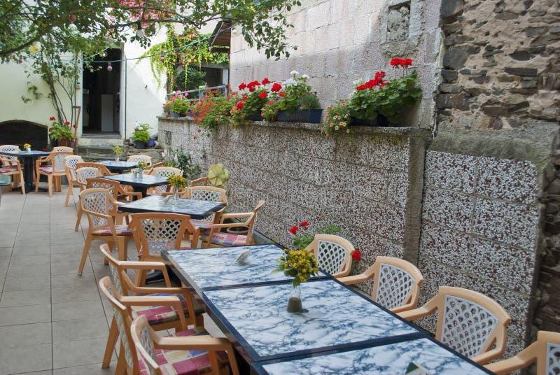 Terrace of a restaurant. An empty terrace of a restaurant stock image